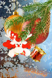 Image of Christmas decorations on window frost background close-up Stock Images