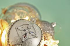 Image of christmas festive tree gold, silver and white balls decoration. Image of christmas festive tree gold, silver and white balls decoration royalty free stock image
