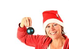 Christmas lady in red and white Royalty Free Stock Images