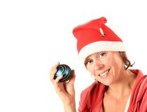 Christmas lady in red and white Stock Image