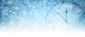 Image of Christmas tree and clock closeup. Royalty Free Stock Image