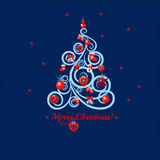 Image of Christmas trees in lines. On a dark blue background Stock Image