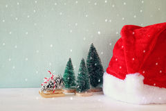 Image of christmas trees next to santa hat Stock Images