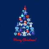 Image of Christmas trees in toys. On a dark blue background vector illustration