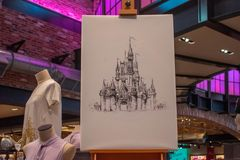 Image of Cinderella Castle drawn by hand and Disney clothes at Lake Buena Vista. royalty free stock image