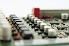 An image of a circuit board, various components stock image