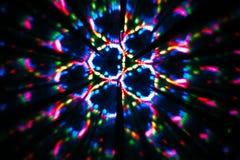 Image circulaire faite avec un kaléidoscope Réflexion des lumières qui produit des images de type de fractale photo libre de droits