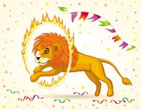 Image of a circus lion jumping through a burning Hoop. Vector image of a cartoon circus Lion jumping through a burning Hoop Stock Photos