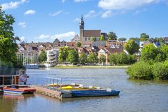Boeblingen lake with view to the church. An image of the city of Boeblingen in Germany stock photography