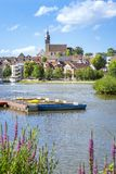 Boeblingen lake with view to the church. An image of the city of Boeblingen in Germany royalty free stock photography
