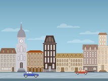 Image of a city street. The image of the city in the style of a flat design royalty free illustration