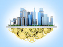 Image of the city to stand with gears. Royalty Free Stock Photography