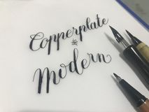 Traditional and Modern Calligraphy Style stock image