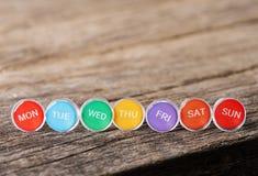 Image of Close up weekly push pins Royalty Free Stock Photography