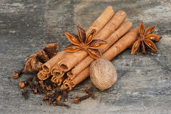 Image of cloves, cinnamon, star anise and nutmeg Royalty Free Stock Image