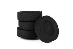 Image of coal to fuel tablets and smoking hookah Royalty Free Stock Image