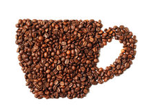 Image of coffee cup made from beans isolated on white background Stock Image