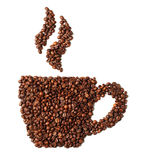 Image of coffee cup made from beans isolated on white Stock Photography