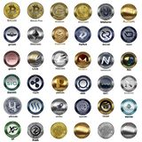 Cryptocurrency icons 36 for web. Image with 36 coins cryptocurrency for web design Royalty Free Stock Photography