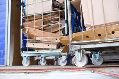 collected cardboard boxes in a recycling center stock image