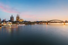 Image of Cologne with Cologne Cathedral with Rhine river and Hoh stock photos