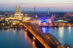 Image of Cologne with Cologne Cathedral during twilight blue hou royalty free stock photo