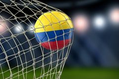 Colombian soccerball in net. Image of Colombian soccerball in net Royalty Free Stock Photo