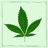 Image colorée de feuille de marijuana dans le style d'art abstrait, faite d'une façon légèrement psychédélique Photo libre de droits