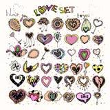 Image colorée lumineuse des icônes avec des coeurs Photo stock