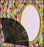 Image of colored background with fan. Many colored romb background and stylized oval frame with black carnival fan Stock Photos