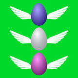 Image of colored Easter eggs in flight Royalty Free Stock Photography