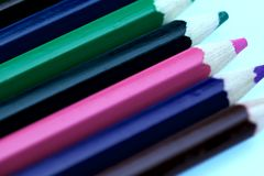 Image of colored pencils. Background, Texture, Close-up, cropped shot. stock image