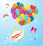Image with colorful balloons in heart shape Stock Photography