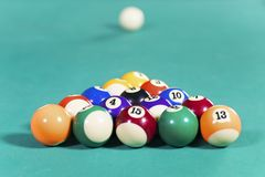Colorful billiard balls on pool table. Image of colorful billiard balls ready to play on the green pool table Royalty Free Stock Photo
