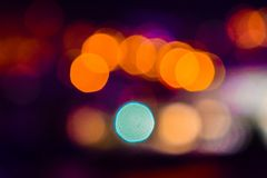 Image of colorful blurred defocused bokeh Lights. motion and nightlife concept. Elegant background. Image of colorful blurred defocused bokeh Lights. Motion and royalty free stock images