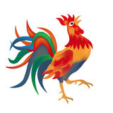Image of a colorful, bright red cock come on a white background. Isolate illustration. Image of a colorful, bright red cock come on a white background. Isolate Stock Image