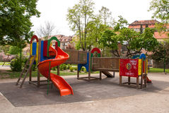 An image of a colorful children playground, without children Royalty Free Stock Image