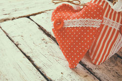 Image of colorful fabric heart on wooden table. valentine's day celebration concept Stock Photography