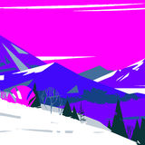 Image of colorful stylized mountains with trees. And bushes Stock Illustration