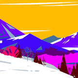 Image of colorful stylized mountains with trees. And bushes Vector Illustration