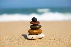 Pebbles arranged on the beach