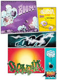 Image comic book pages with different background comic strips and various inscriptions boom Royalty Free Stock Photos