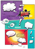 Image comic book pages with different speech bubbles for text, as well as various sounds on a colored background stock illustration