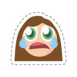 image comique femelle de cri d'émoticône illustration de vecteur
