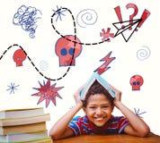 Image composée d'élève avec beaucoup de livres Photos libres de droits