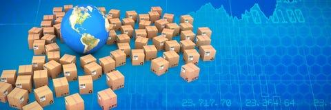 Image composée d'image composée de globe parmi des boîtes illustration stock