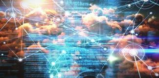 Image composée d'image composée des canalisations de raccordement d'interface au-dessus des nuages oranges illustration libre de droits