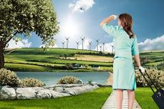 Image composée d'hôtesse de l'air Images stock