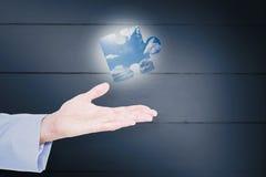 Image composée d'homme d'affaires bel faisant des gestes avec des mains Images stock
