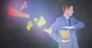 Image composée d'homme d'affaires bel faisant des gestes avec des mains image libre de droits